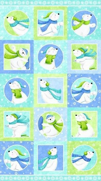 Snow Bears Flannel Crib Panel
