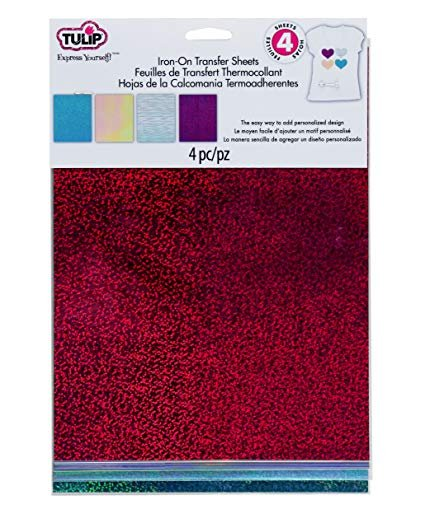 Iron On Transfer Sheets 8-1/2in x 11in Holographic Shimmer Pink 4pk