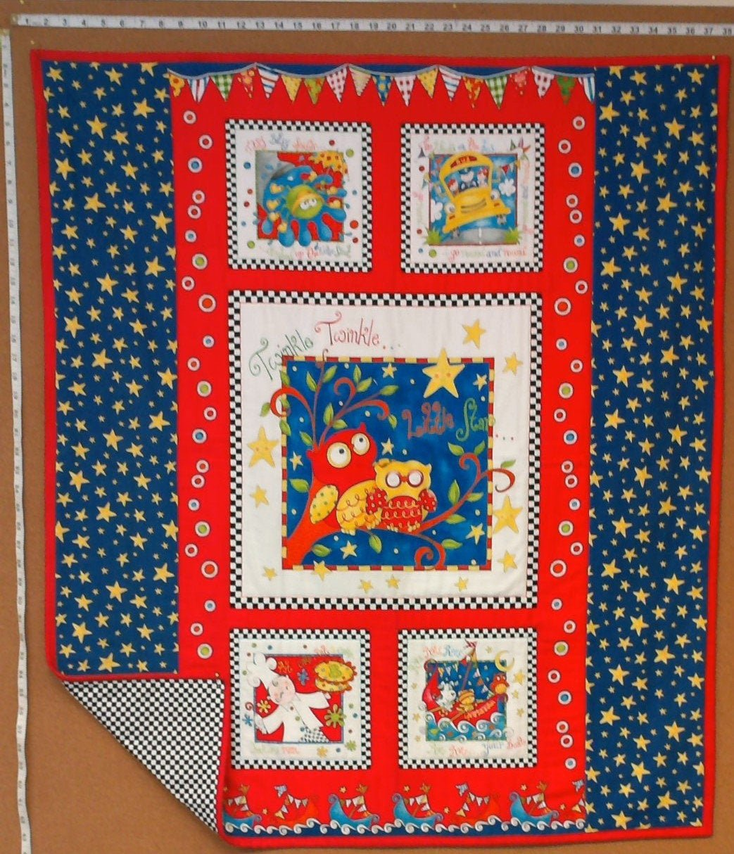 Twinkle, Twinkle Little Star Baby Quilt - Red