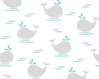 Quilt Fabric double gauge grey whales