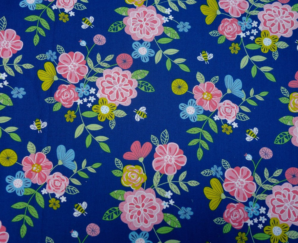 #80270 Wildflower Honey Col 1 Floral/Navy
