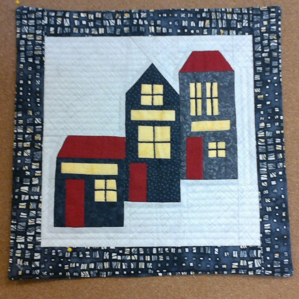 Houses Wallhanging or Table Center