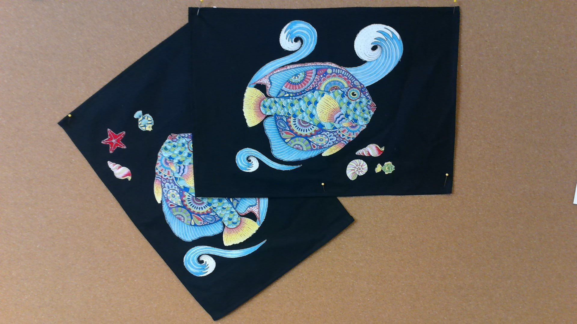 Canvas Placemates with Fish Appliques - 2 piece