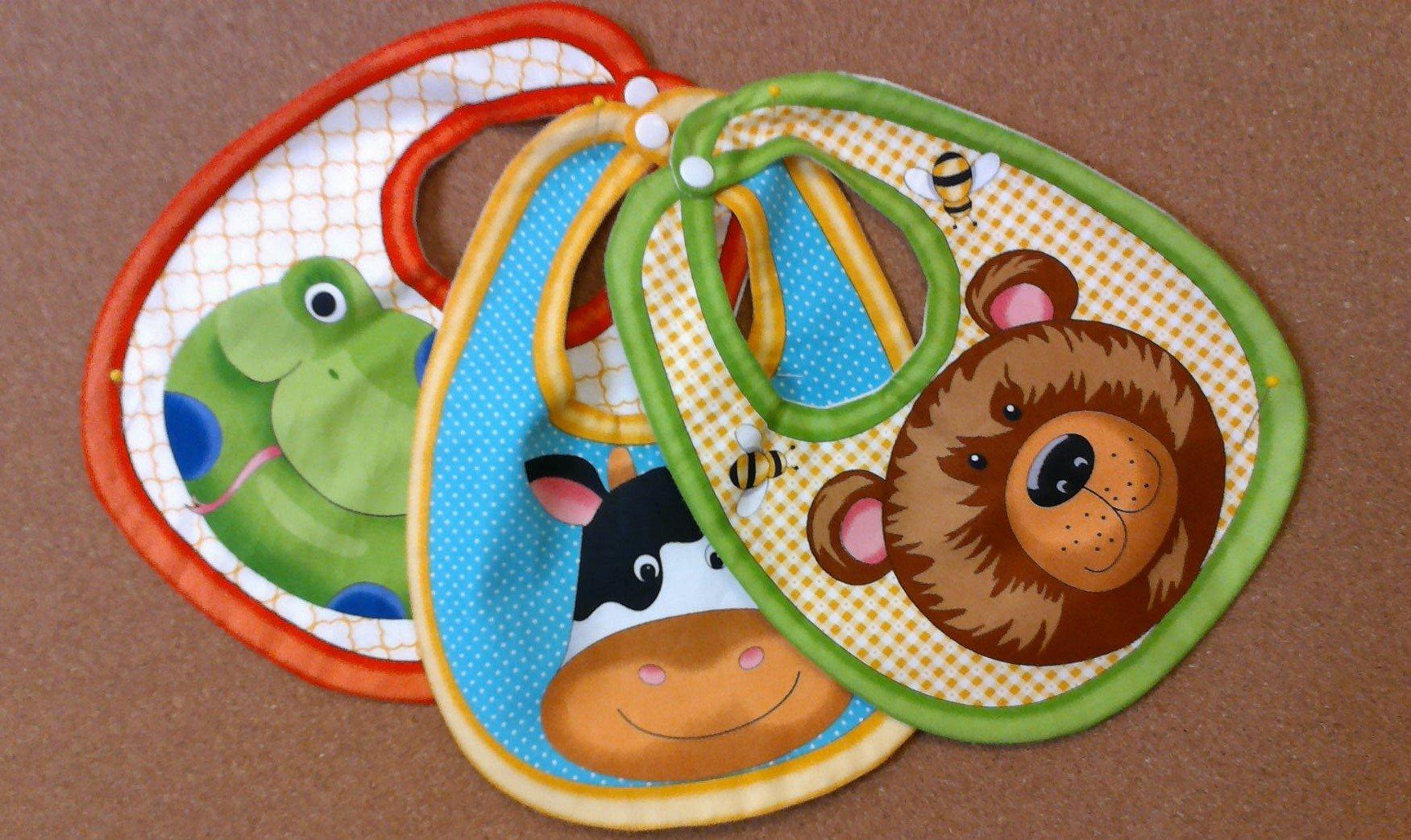 Baby Bib Set - Bear, Cow & Frog