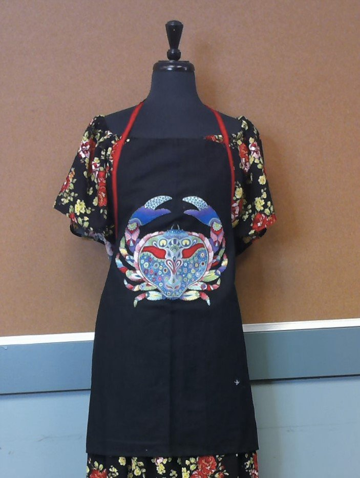 Black Canvas Apron with Crab Applique