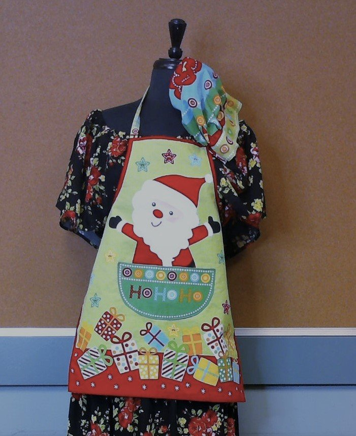 Child's Christmas Apron and Hat