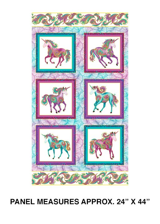 Benartex Believe in Unicorns Unicorn White/Multi Panel 10390M-09