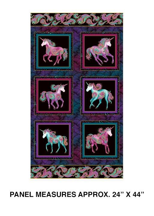 Benartex Believe in Unicorns Unicorn Black/Multi Panel 10390M-12