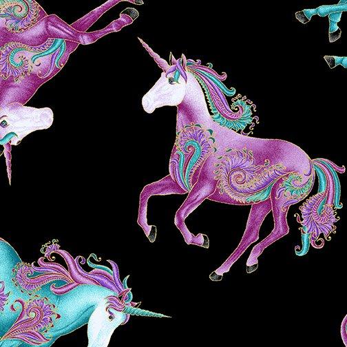 Benartex Believe in Unicorns  All Over Unicorns Black/Multi 10391M-12