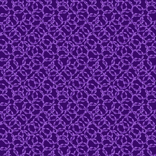 Benartex Believe in Unicorns Interlocking Rings Dark Purple 10392-68