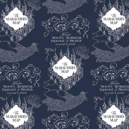 Harry Potter Blue Marauders Map on Flannel 23800130B-2