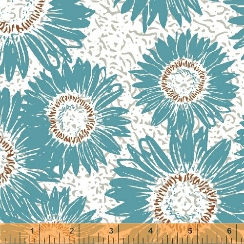 Windham Fabrics Makers Home Sunflower Turquoise 43152-2