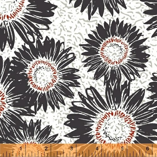 Windham Fabrics Makers Home Sunflower Charcoal 43152-9