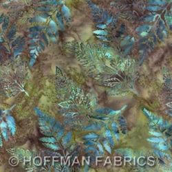 Hoffman Hand Painted Bali 2440-550 Ferns and Leaves Big Sur