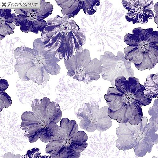 Benartex Violet Twilight Shimmery Blossoms White 7919P-09
