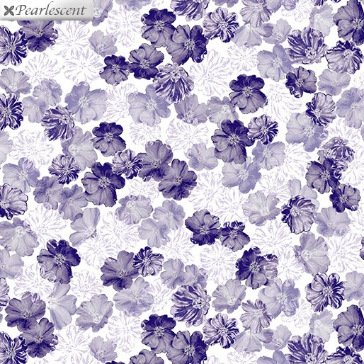 Benartex Violet Twilight Pearly Blooms White 7920P-09