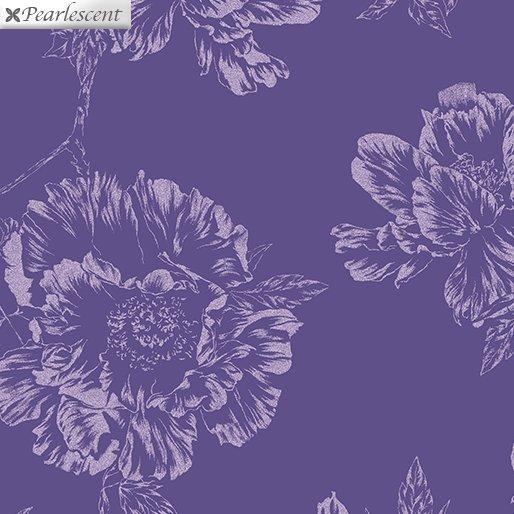 Benartex Violet Twilight Pearl Shadow Flowers Purple 7922P-66