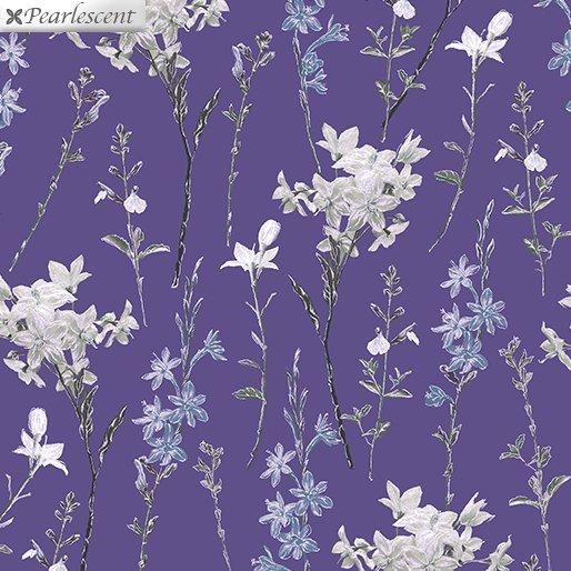 Benartex Violet Twilight Shimmery Wild Flowers Purple 7924P-66