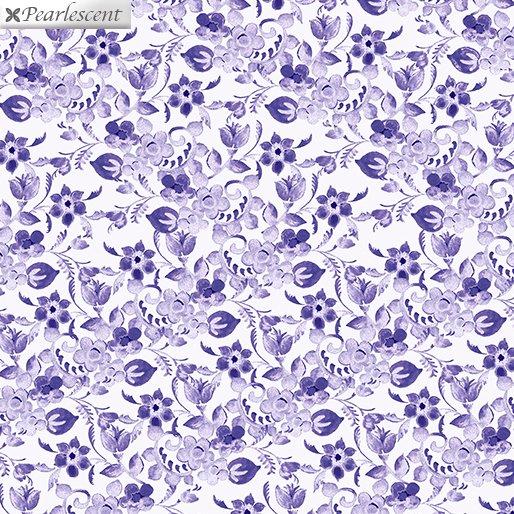 Benartex Violet Twilight Floral Arabesque  White 7925P-09