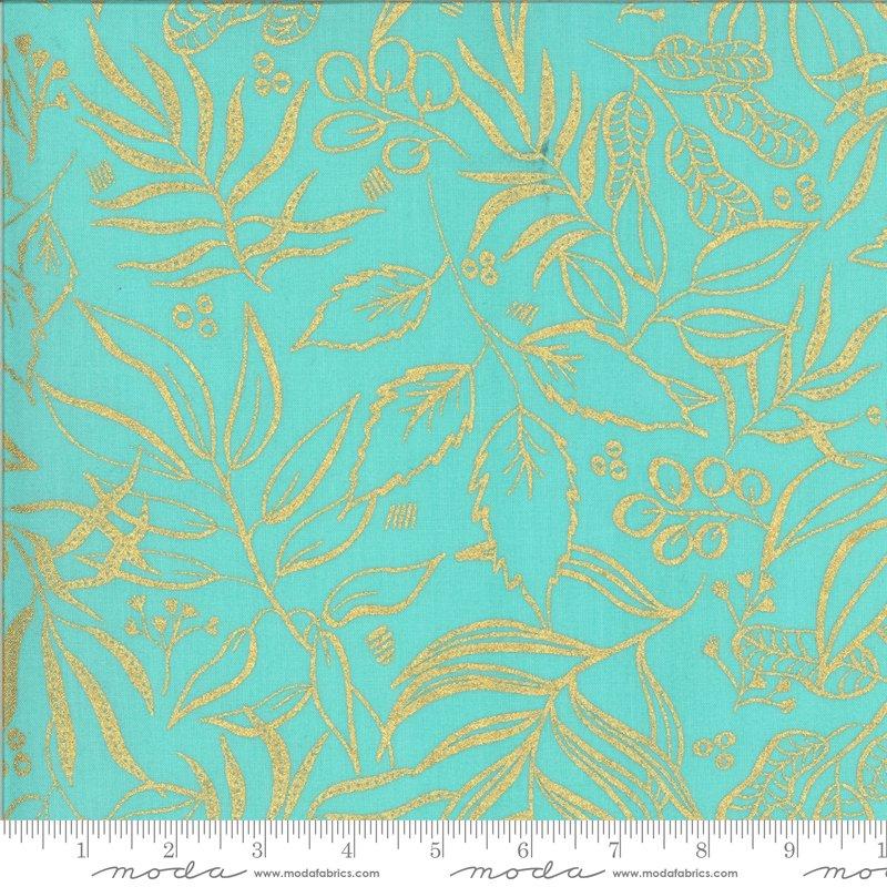 Moda Moody Bloom Metallic Jade 8449 19M