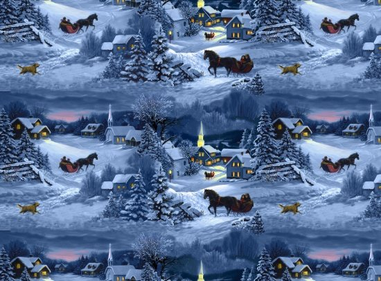 Blank Quilting Let it Snow Night Scene with Horses 9125-79