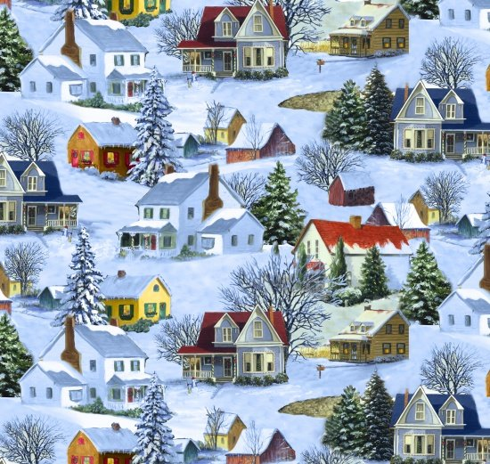 Blank Quilting Let it Snow Homes 9128-11