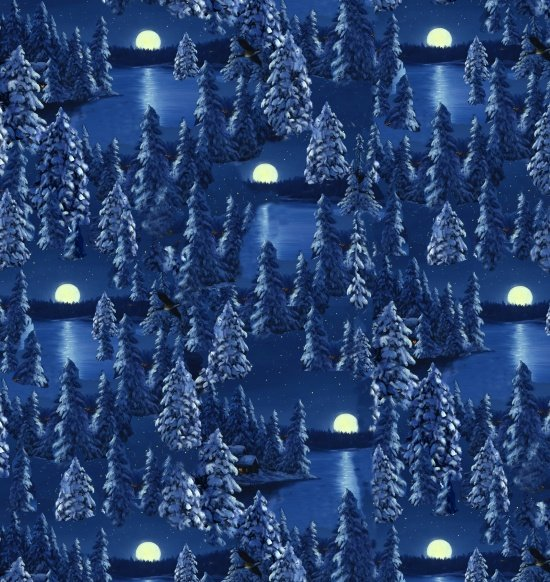 Blank Quilting Let it Snow Moon Scene 9129-77