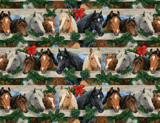 Blank Quilting Let it Snow Horses 9130-39