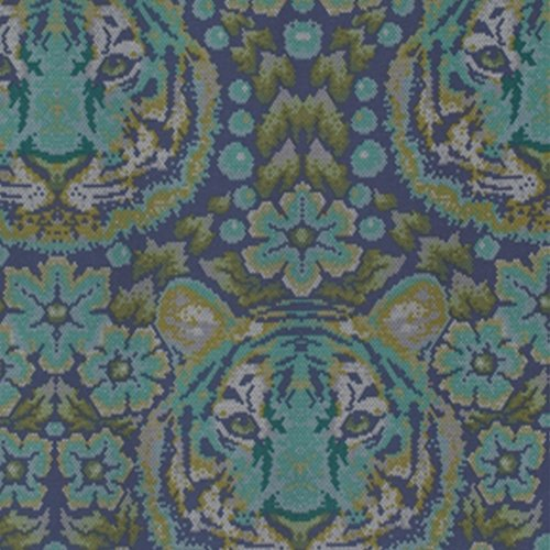 Free Spirit Eden Crouching Tiger in Sapphire by Tula Pink PWTP077.SAPPH