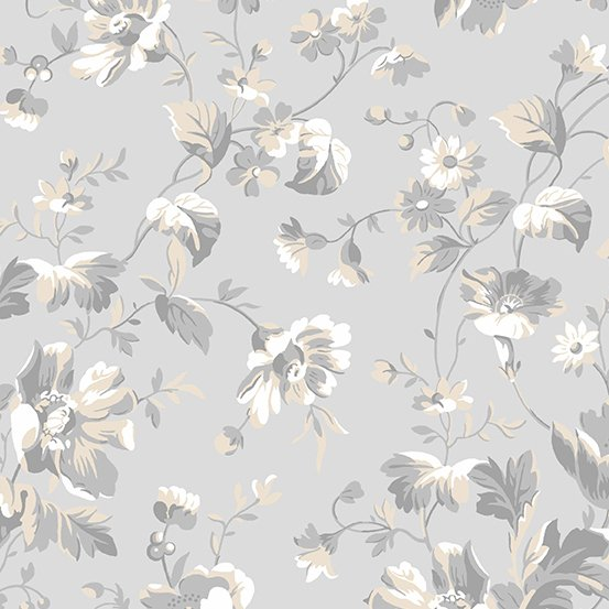 Andover Willow Tossed Floral Grey A-9611-C