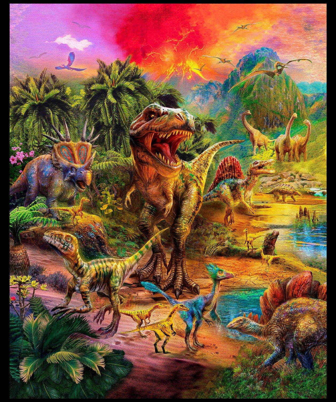 Robert Kaufman Wild Dinosaurs Panel 108in Wide AYKXD19295286
