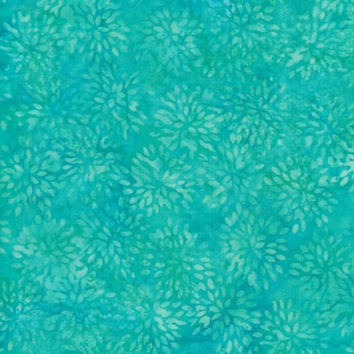 Island Batik Basics  Small Pointed Floral Turquoise BE36-D1