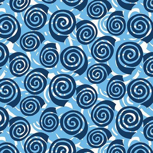 Benartex Abstract Garden BLOOMING ROSES BLUE 3501-55