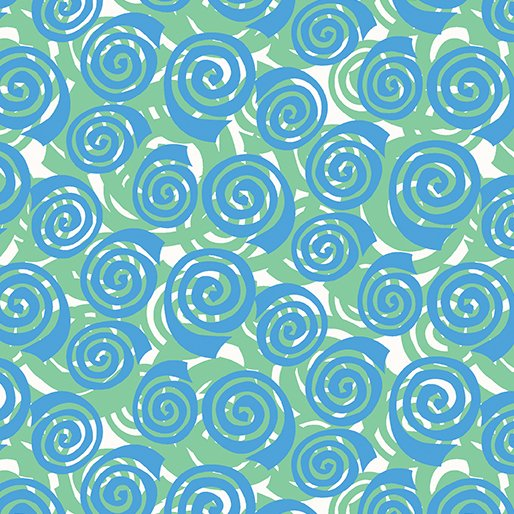 Benartex Abstract Garden BLOOMING ROSES GREEN AQUA 3501-44