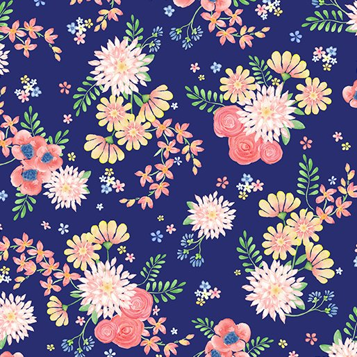 Benartex BUNNIES & BLOSSOMS Blossom Bouquet Navy 0969155B