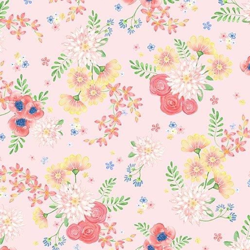 Benartex BUNNIES & BLOSSOMS Blossom Bouquet Pale Pink 0969102B