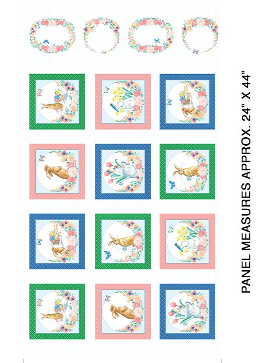 Benartex BUNNIES & BLOSSOMS Blocks White Panel 0968809B