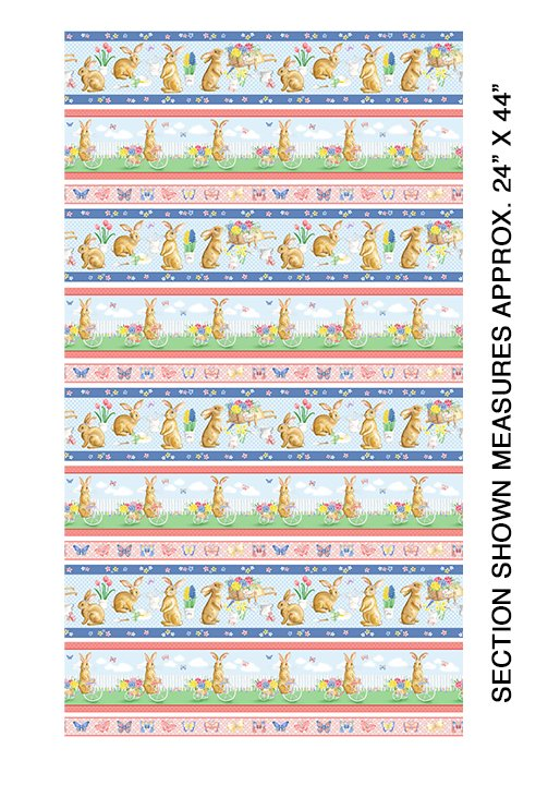 Benartex BUNNIES & BLOSSOMS Bunnies & Blossoms Stripe Multi 0969299B