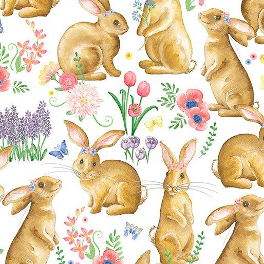 Benartex BUNNIES & BLOSSOMS Bunny Friends 0969409B