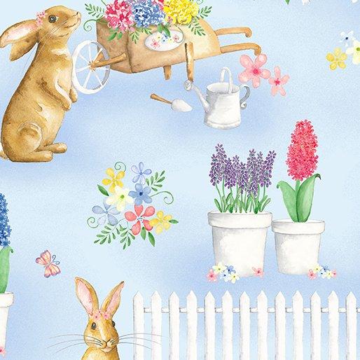 Benartex BUNNIES & BLOSSOMS Bunny Garden Blue 0969005B