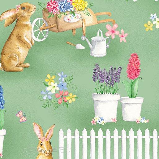 Benartex BUNNIES & BLOSSOMS Bunny Garden Green 0969004B
