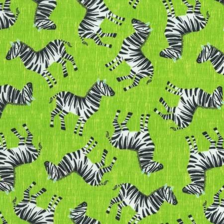 Timeless Treasures Kidz Lime Zebras C6418 LIME