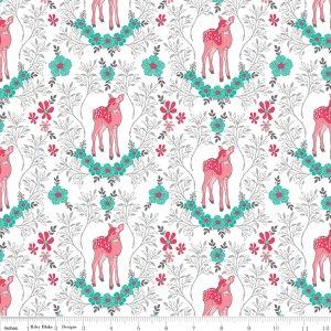 Riley Blake Flora & Fawn Deer White C6732-WHITE