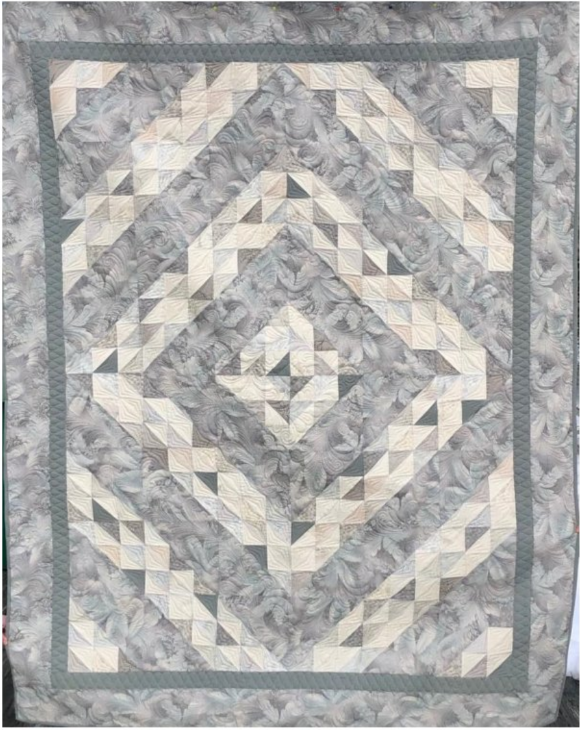 Quilt Basket Diamonds Forever Twin Quilt Kit - Japanese Taupe