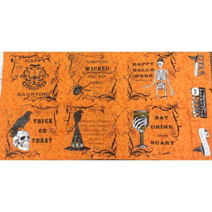 Moda Eerily Elegant Vintage Pumpkin Panel 19810 13