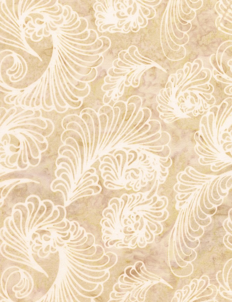 Timeless Treasures Antique Garage Feathers Batik Tonga-B4928-Beige