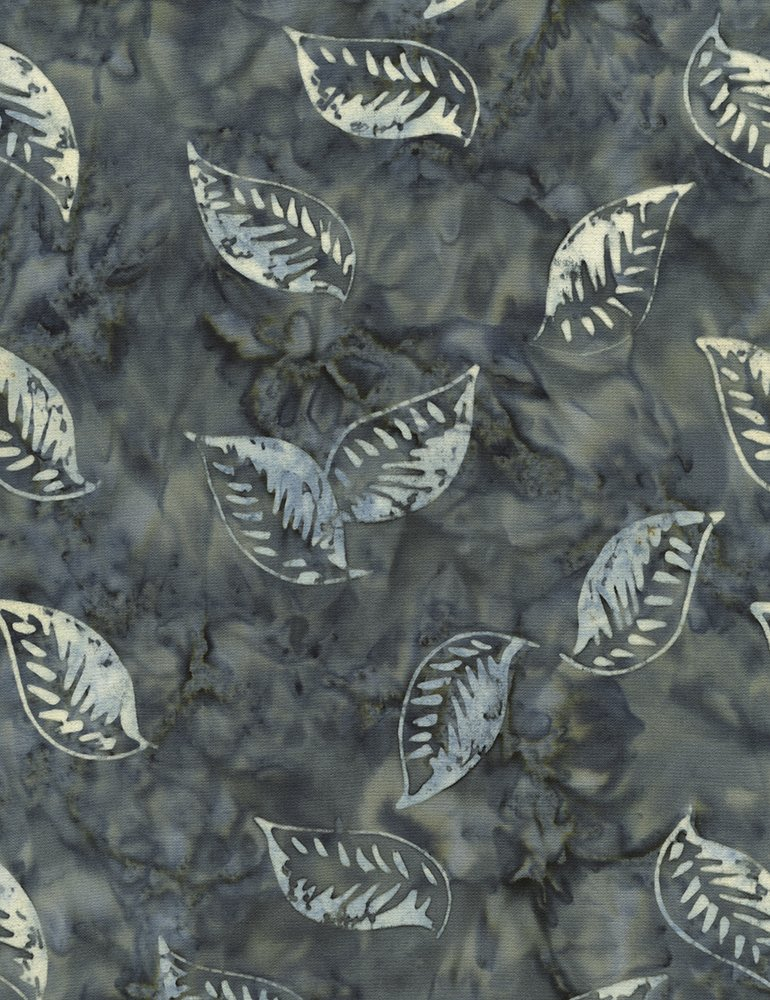 Timeless Treasures Antique Garage Floating Leaves Batik Tonga-B4012-Pond