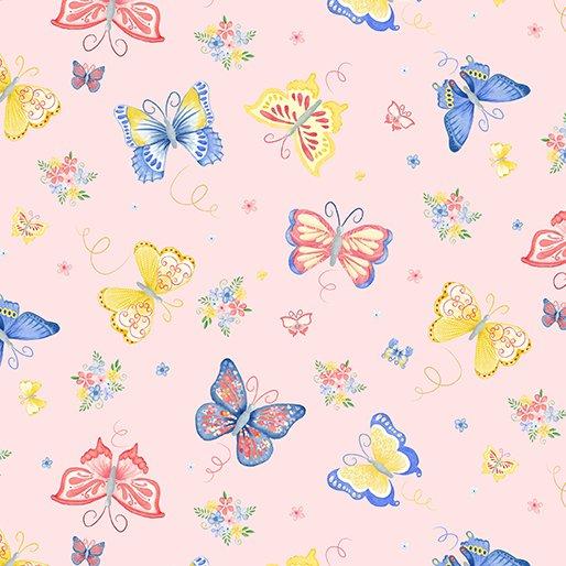 Benartex BUNNIES & BLOSSOMS Garden Butterflies Pink 0969502B
