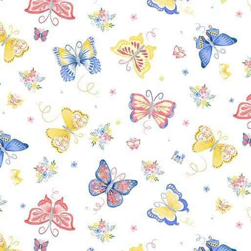 Benartex BUNNIES & BLOSSOMS Garden Butterflies White 0969509B
