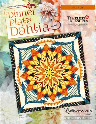 Quiltworx Dinner Plate Dahlia Wall 2019 Technique of the Month - copy